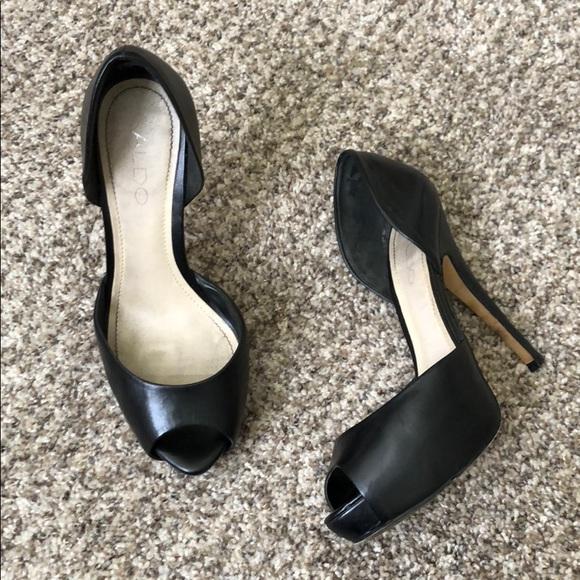 659e189e335 Aldo Shoes - Aldo black peep toe open side platform pumps sz 37